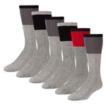 Men's Cotton Blend  Heather Grey Tube Socks For Hiking With Ribbed Colored Tops - 6 Pairs