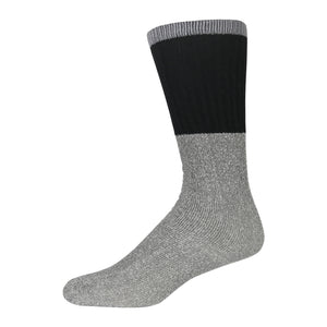 Men's Cotton Blend  Heather Grey Tube Sock For Hiking With Ribbed Grey Top And Black Elastic