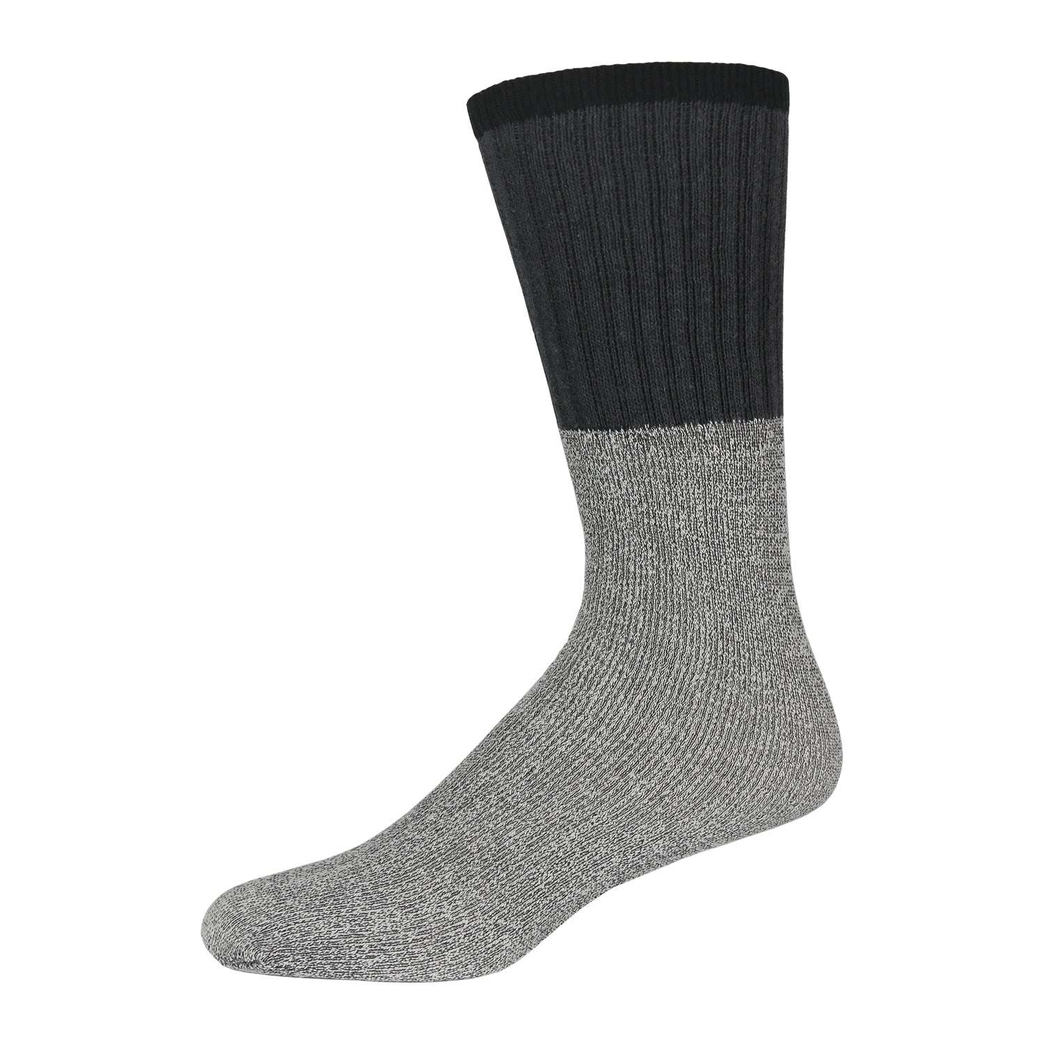 Men's Cotton Blend  Heather Grey Tube Sock For Hiking With Ribbed Dark Grey Top And Black Elastic