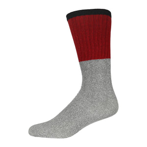 Men's Cotton Blend  Heather Grey Tube Sock For Hiking With Ribbed Black Top And Dark Red Elastic