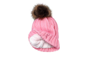 Women's Winter set, Knitted Beanie with Pompom and Gloves, Pink Ribbon Breast Cancer Awareness
