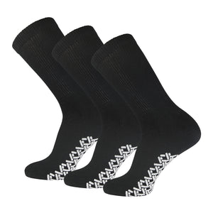 Non-Skid Crew Socks Black Diabetic Socks With White Rubber Grips On The Bottom 3 Pairs