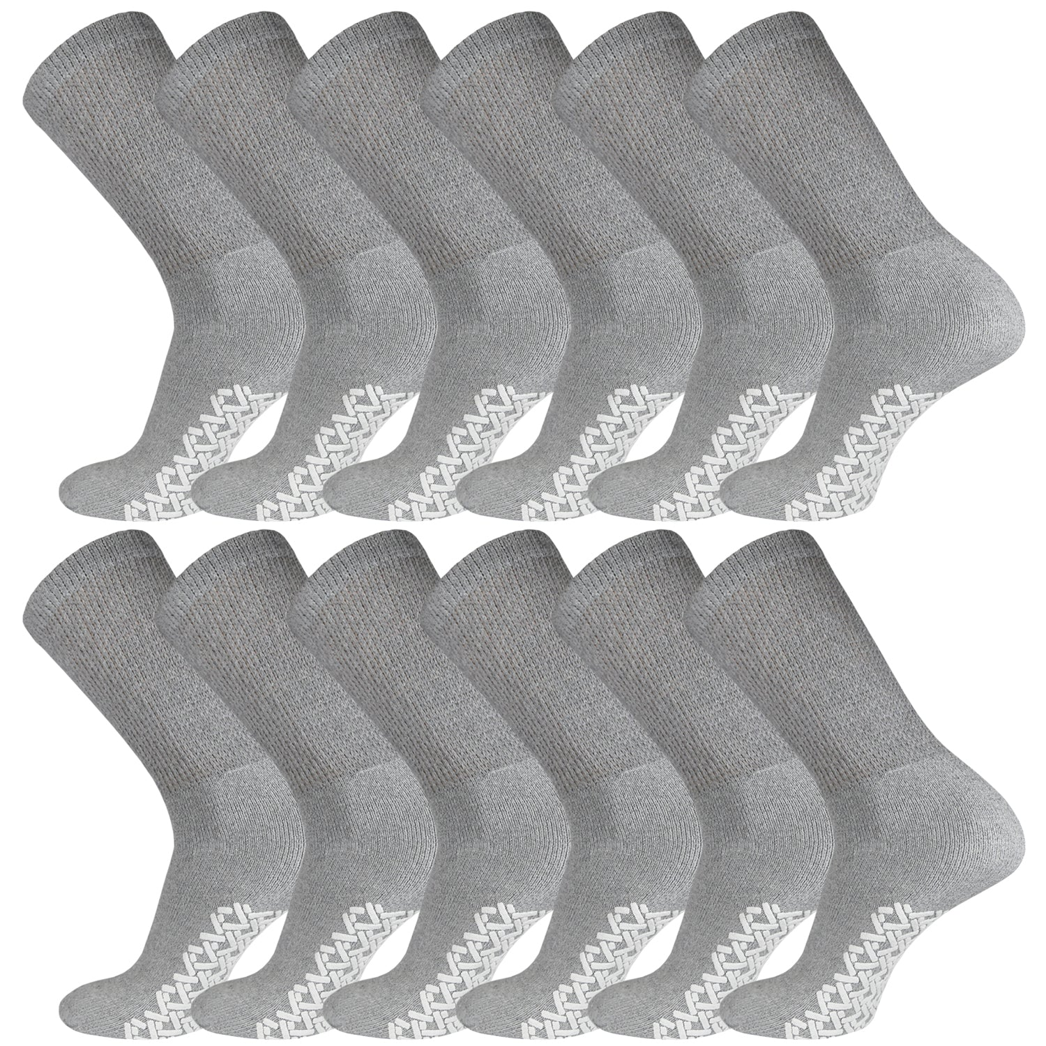 Non-Skid Crew Socks Gray Diabetic Socks With White Rubber Grips On The Bottom 12 Pairs