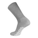 Non-Skid Crew Socks Gray Diabetic Socks With White Rubber Grips On The Bottom