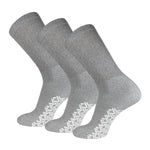 Non-Skid Crew Socks Gray Diabetic Socks With White Rubber Grips On The Bottom 3 Pairs