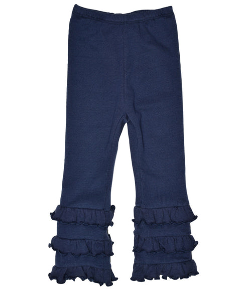 Girls ruffle pant in navy organic cotton | made in USA by Adooka Organics