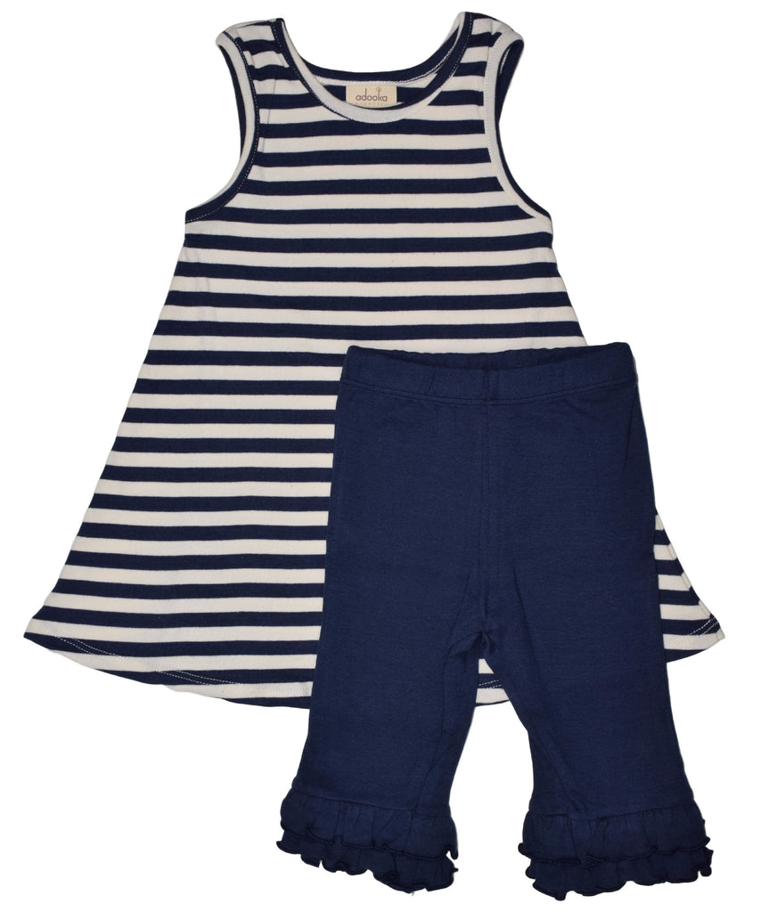 Joyful stripe tunic+capri set