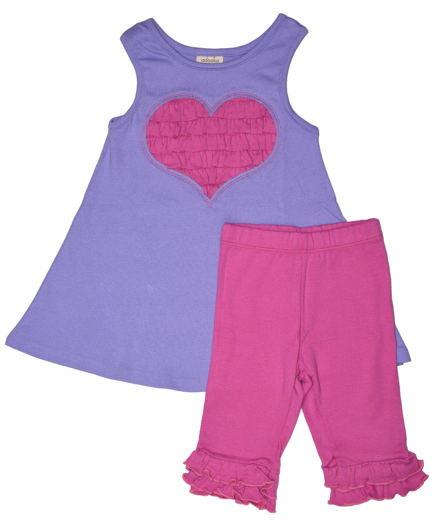 Ruffled heart tunic+capri set