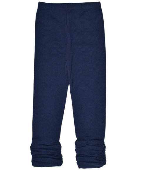 Girls navy organic gathered legging pant | made in USA by Adooka Organics