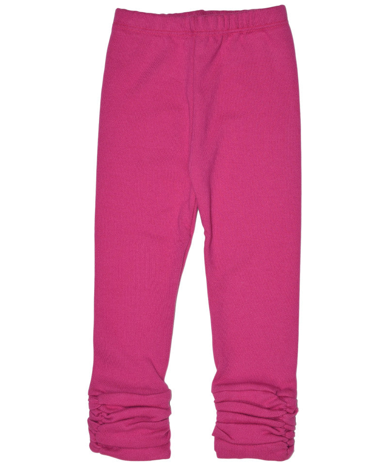 Girls pink organic gathered legging pant | made in USA by Adooka Organics