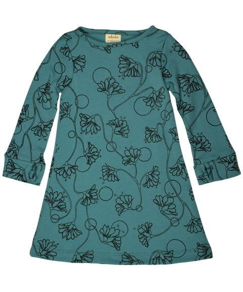 Thumbhole dress teal | Organic made in USA girls dress