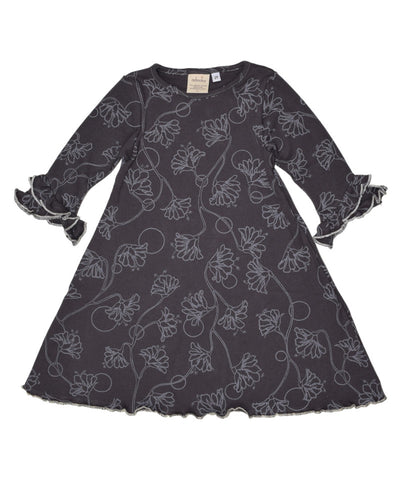 Tulip sleeve ruffle girls dress charcoal flowers | Adooka Organics Made in USA