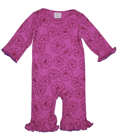 Pink peony flower baby girl outfit | Organic Made in USA