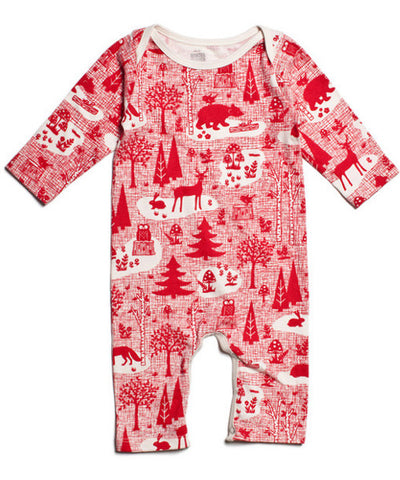 Winter forest red organic cotton gender neutral baby romper