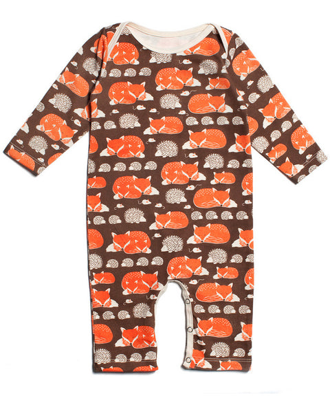 Foxes + hedgehogs romper