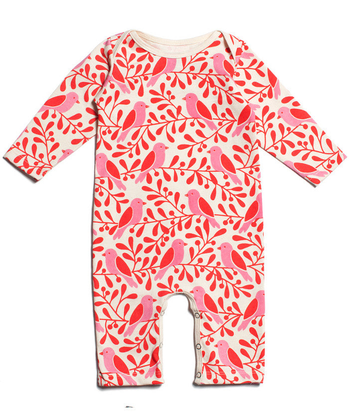 Birds + berries organic baby girl romper | Winter Water Factory