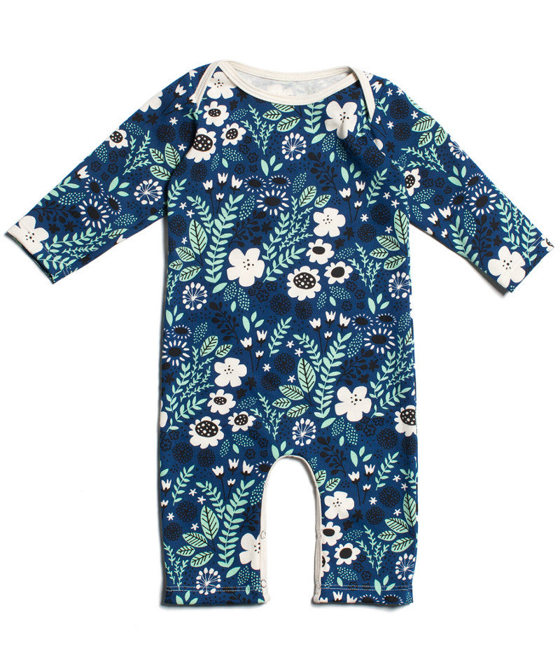 Navy blue flower baby girl outfit organic cotton Winter Water Factory