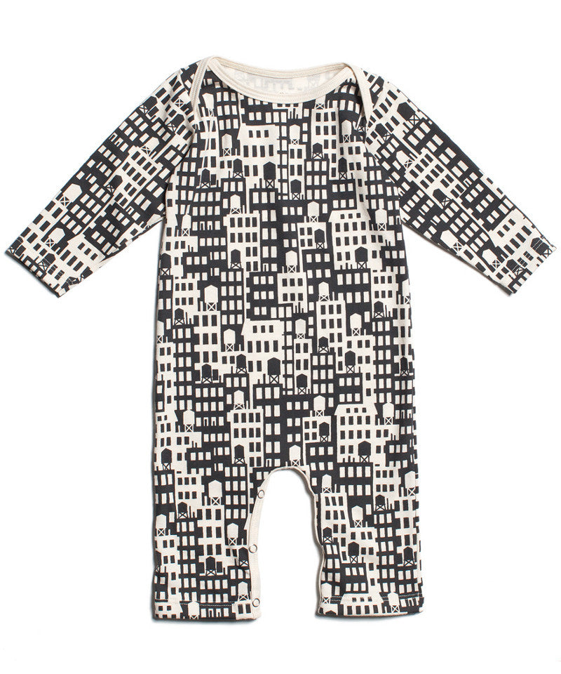 Metropolis city skyscraper buildings print organic baby romper made in USA