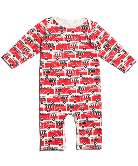 Fire trucks organic baby one piece romper | Winter Water Factory