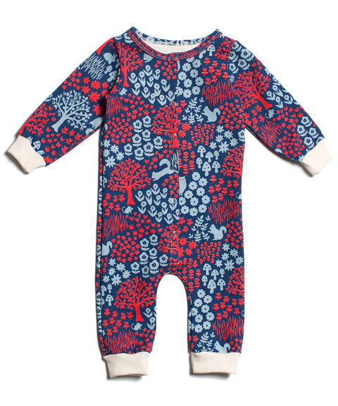 Woodland creatures baby jumpsuit | Winter Water Factory organic