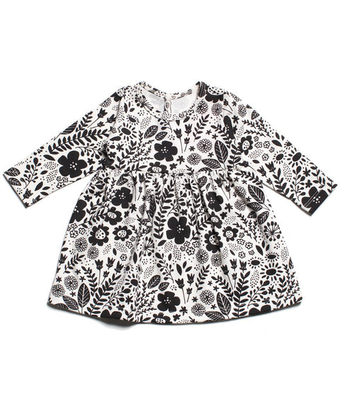 Winter Water Factory Geneva baby dress Black and White Wildflowers
