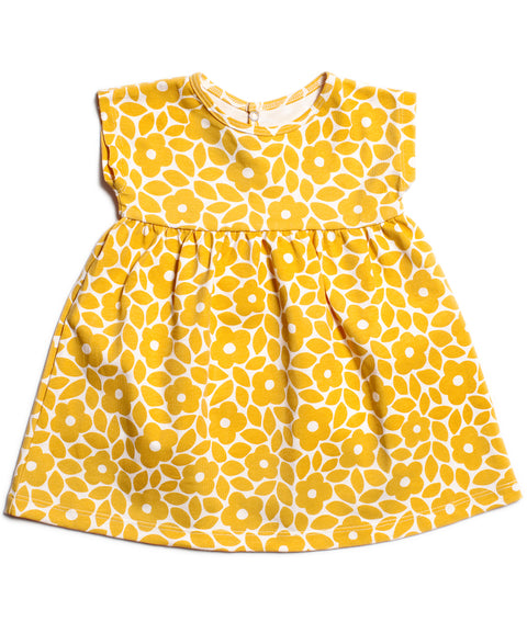 Merano organic cotton baby dress Made in USA Moroccan print yellow