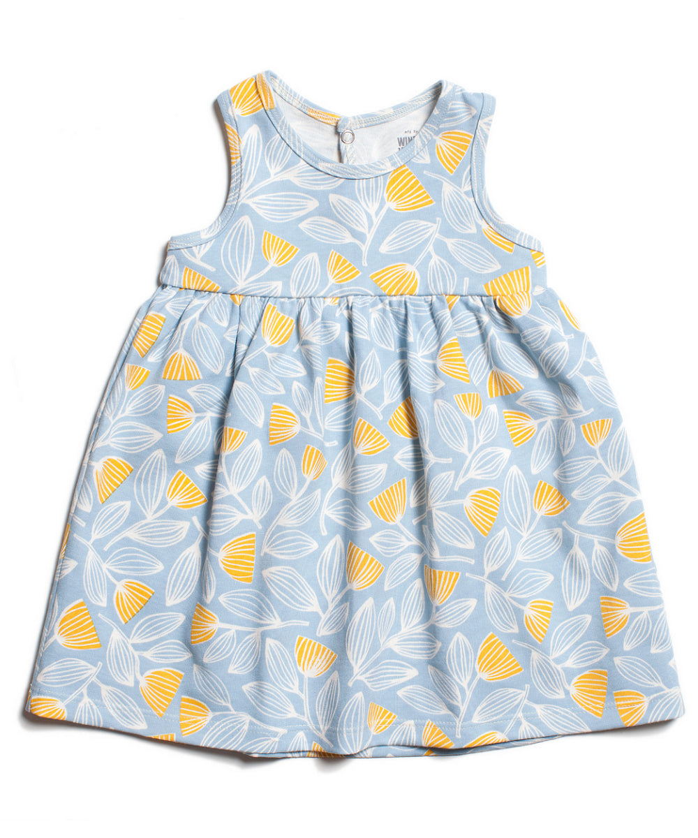 Organic baby dress | Holland tulips blue yellow