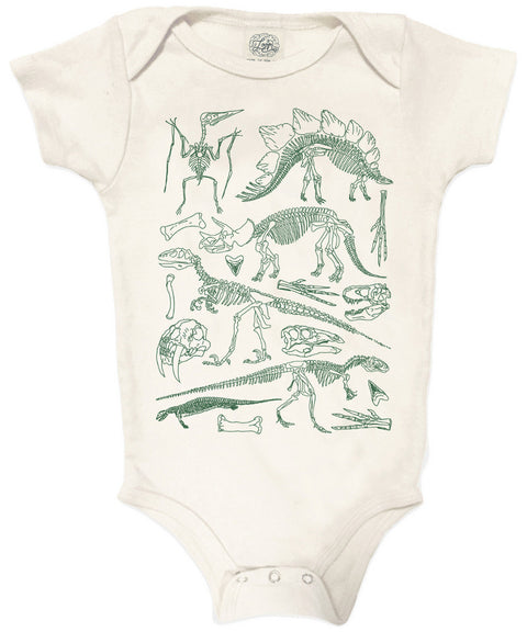Natural history dinosaurs organic baby one piece | made in USA
