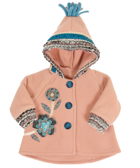 Made in USA girls luxury hooded applique coat | by Tuff Kookooshka