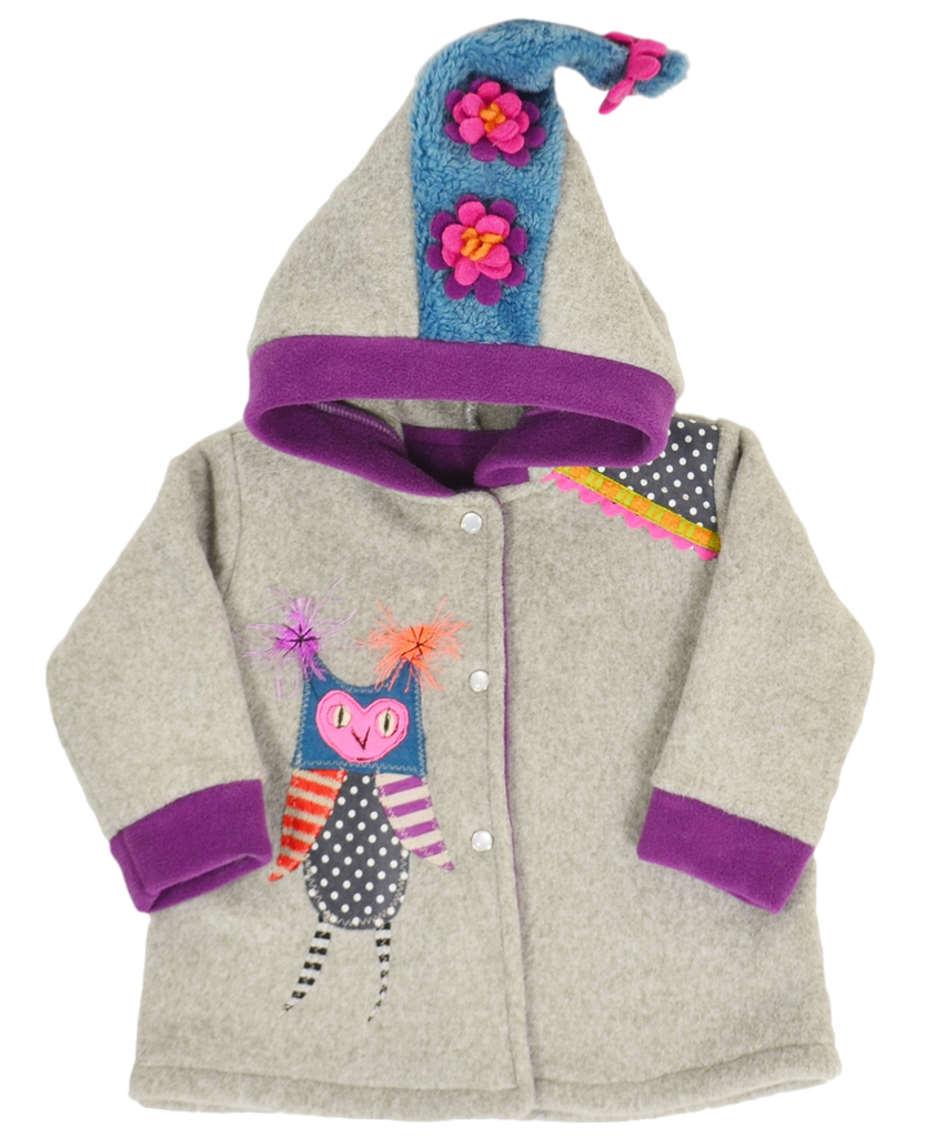 Owl applique girls luxury hooded coat | made in USA by Tuff Kookooshka