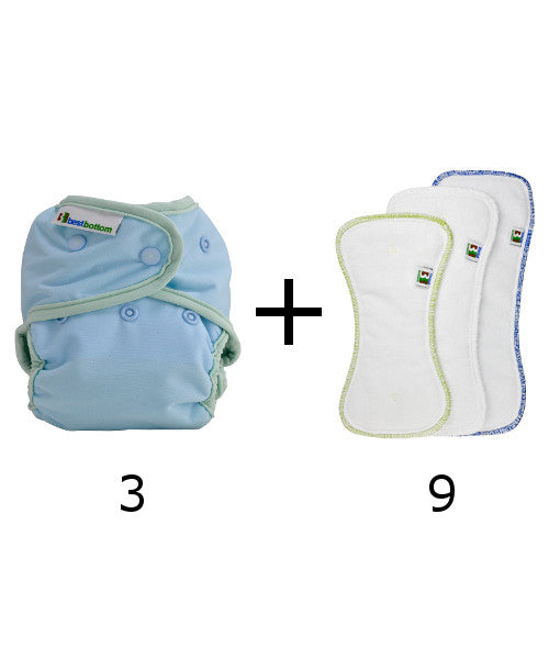 Set of 3 diapers + 9 inserts