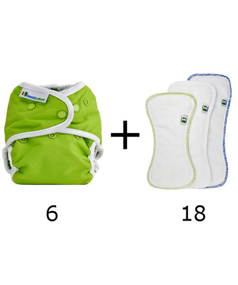 Set of 6 diapers + 18 inserts