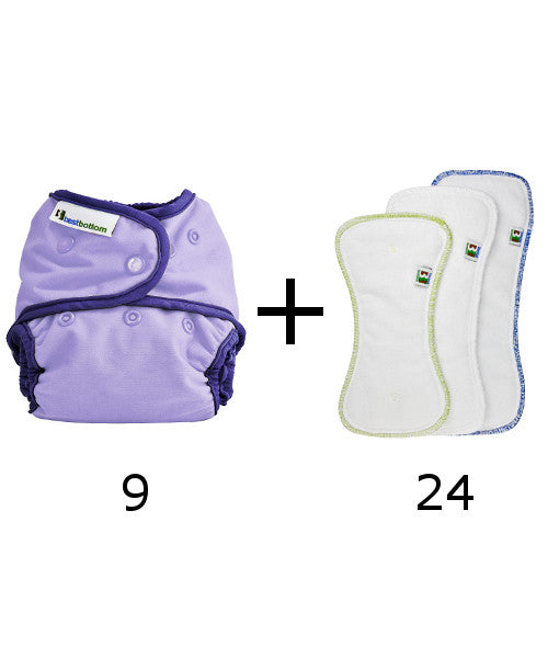 Set of 9 diapers + 24 inserts