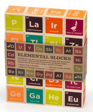 Periodic table of elements toy wooden blocks | made in USA