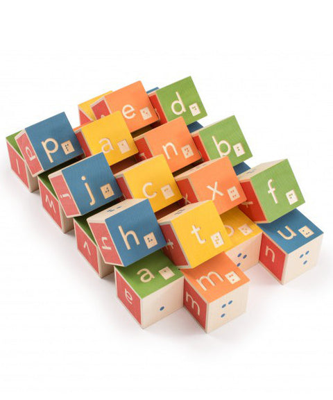 Braille alphabet wooden blocks | made in USA by Uncle Goose