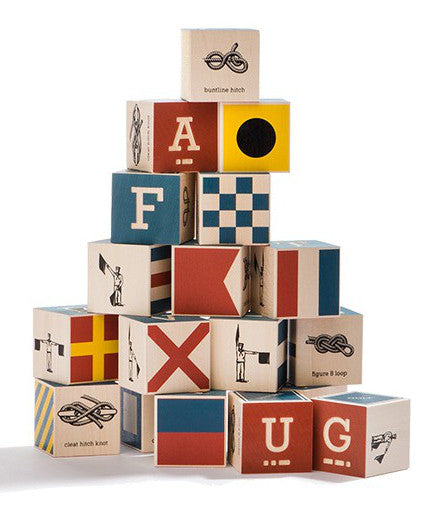 Wooden nautical ship flag alphabet blocks | made in USA