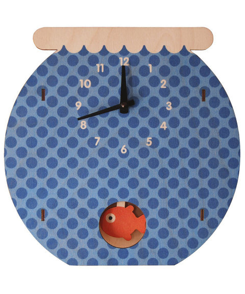 Fish bowl wooden kids room clock | Made in USA