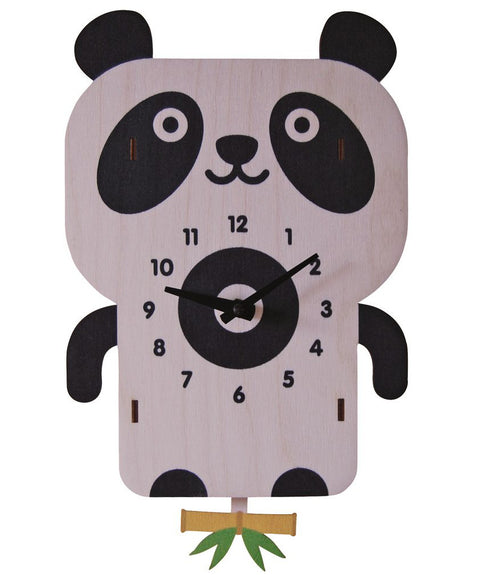 Panda wooden kids room clock | Made in USA