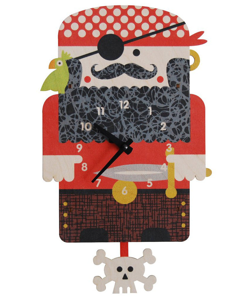 Pirate Wooden Pendulum Kids Wall Clock Made In Usa By Modern Moose