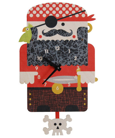Pirate wood kids wall clock | Made in USA
