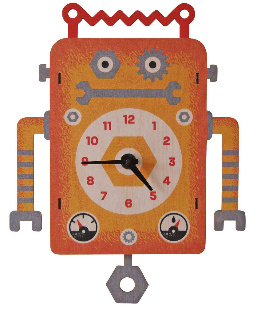 Robot kids wooden wall clock | Made in USA