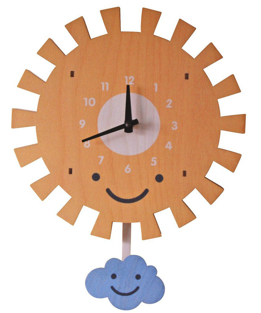 Sun Wooden Pendulum Baby Room Wall Clock Made In Usa By Modern