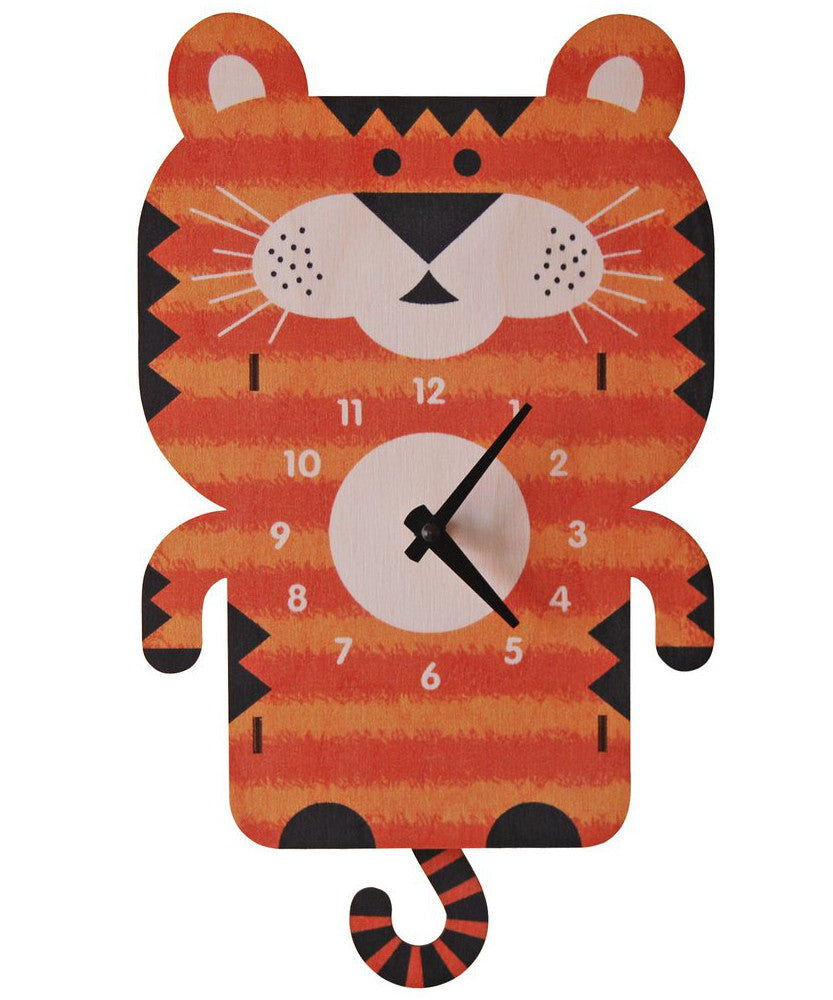 Tiger children's wooden pendulum clock | Made in USA