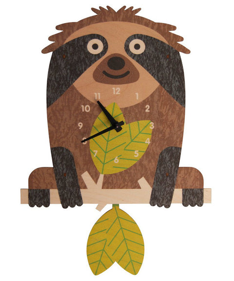 Tree sloth wooden pendulum clock | Made in USA