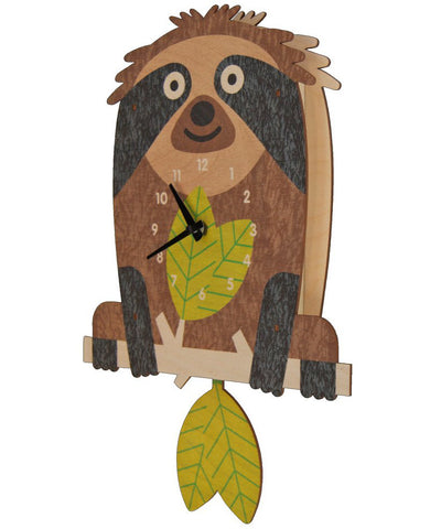 Tree sloth eco friendly kids clock | Made in USA