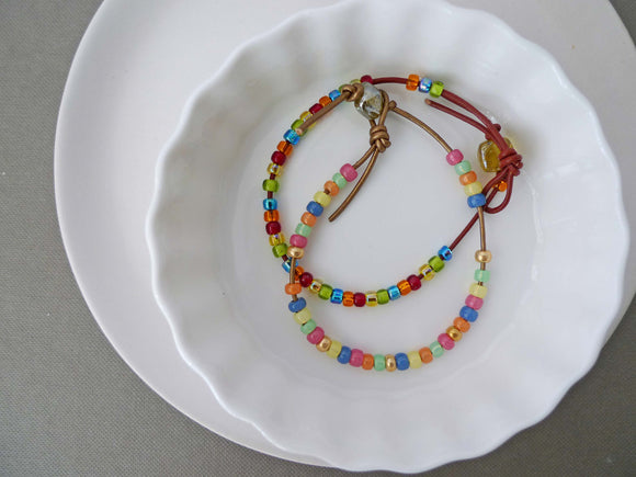 GN Leather Beaded Bracelet Set - Multi-coloured