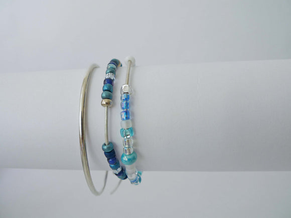 GN Leather Beaded Bracelet Set - Marine