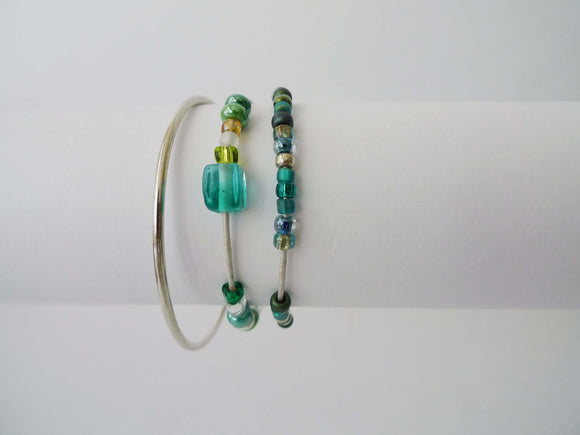 GN Leather Beaded Bracelet Set - Greens