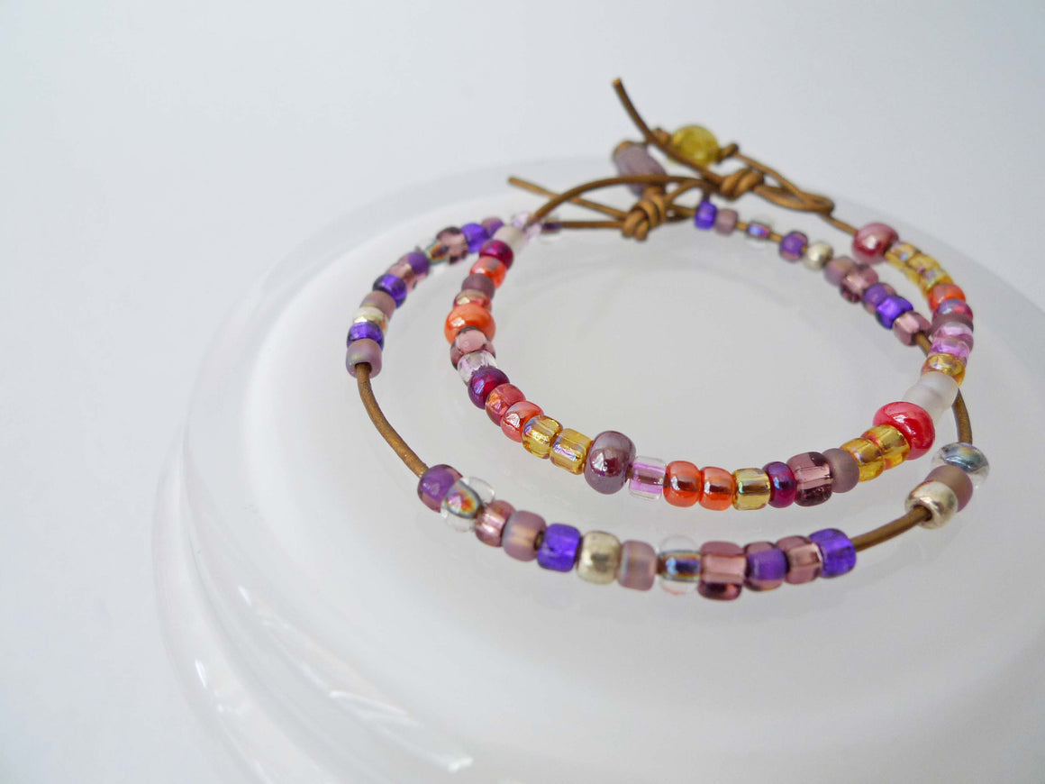 GN Leather Beaded Bracelet Set - Violet