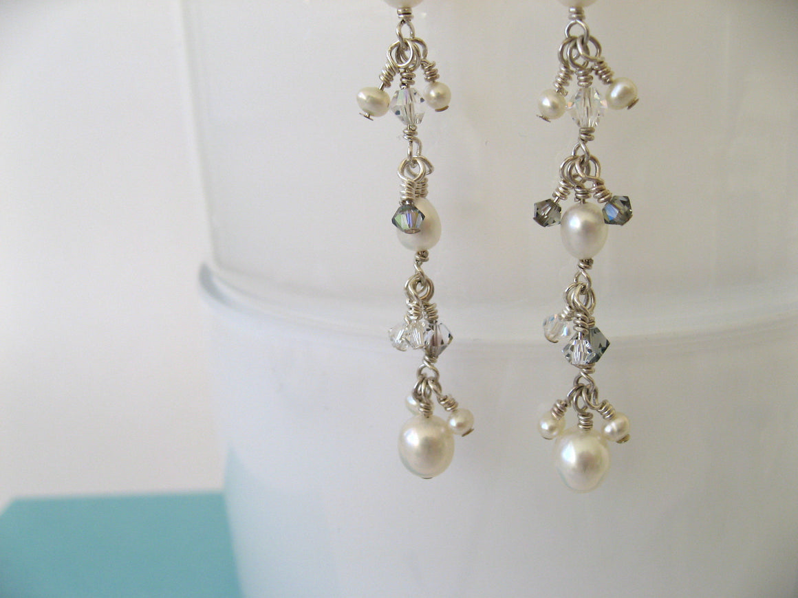 Line Pearl and Crystal Earrings